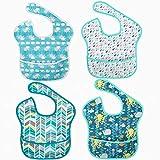 Juego de 4 baberos de bebé unisex impermeables, lavables, absorbentes para niños y niñas de 6-24 meses, para comida y babas, resistentes a las manchas y al olor
