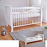 Cuna para bebé Baby con colchón de espuma de aloe vera, rejillas de altura regulable, color blanco, convertible en cama infantil