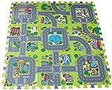 V-SOL Alfombra Infantil para Jugar Niños y Bebés Diseño de Ciudad Verde
