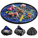LandJoy Bolsa de Almacenamiento de Juguetes para Niños Bebé Impermeable y Plegable Bolsa de Almacenamiento de Juguetes los De Gran Tamaño Children Play Mat 60 Pulgadas(150cm,Azul