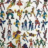Kt KILOtela Tela de Patchwork - Estampación Digital - 100% algodón - Retal de 50 cm Largo x 140 cm Ancho | Superhéroes y superheroínas - Multicolor ─ 0,50 Metro