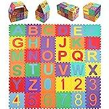 StillCool Alfombra Puzzle Niños de Letras Puzzle Estera de Juguete de Espuma Sólida 15cm * 15cm,36 Piezas de Goma Espuma Suave Eva alfombras de Numeros 0 al 9 y 26 Letras (A-Z) para Niños Bebe