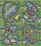 Leomark Alfombra Infantil Diseño De Ciudad Casas Calles Dibujos De Pueblo Cubrepisos para Salas Bebés para Juegos Multicolor, Verde, Dim: 140 x 160 cm
