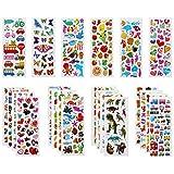 Vicloon Pegatinas para Niños 500+ 3D Puffy Pegatinas, 22 Hojas Variedad de Pegatinas para Regalos Gratificantes Scrapbooking Que Incluye Animales, Peces, Dinosaurios, Números, Frutas, Aviones y Más