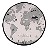 Alfombra Redonda Manta de Rastreo de Bebé de Algodón Fácil de Llevar Manta de Cojín de Mapa del Mundo Manta Suave Adorno de Piso de Habitación de Bebé Plegable