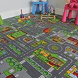 The Rug House Alfombra Infantil de Ciudad para Juegos, Poliamida, Gris, 140 x 200 cm
